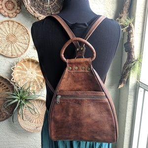 Vintage 🌵 Bohemian brown leather backpack purse